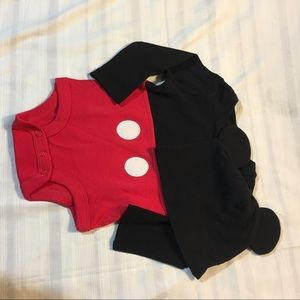 Mickey Mouse onesie with matching hat